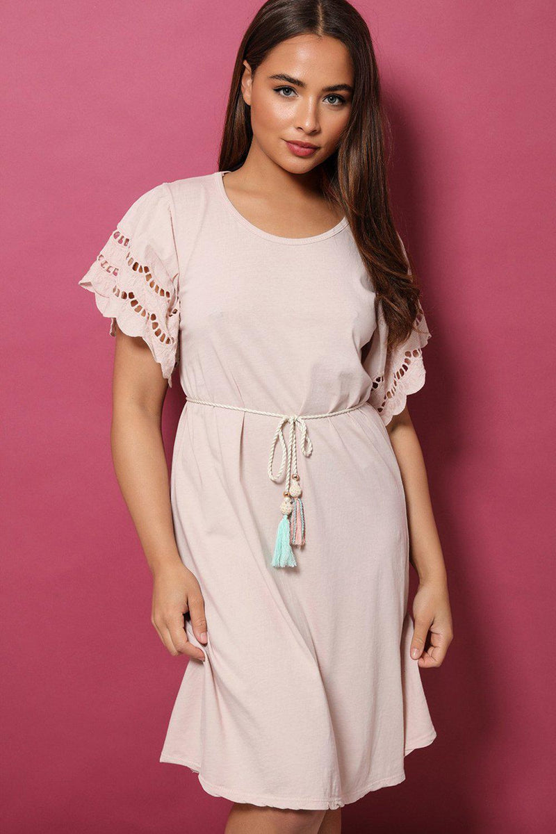 Pink Crochet Sleeves Rope Tie 100% Cotton Dress - SinglePrice
