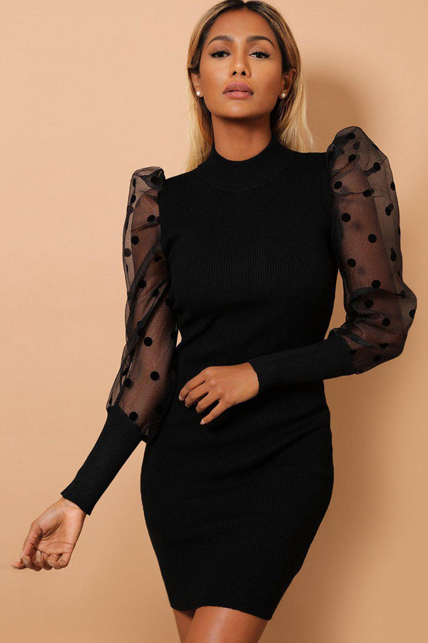 Black Polka Dot Puff Sleeves Ribbed Knit Dress-SinglePrice