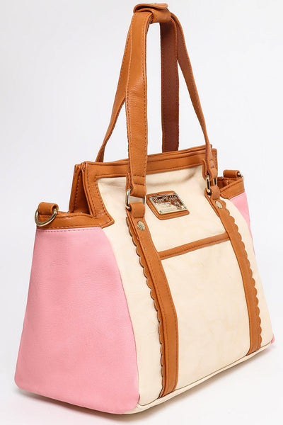 Brown Trims Pink Sides Mini Tote Bag-SinglePrice