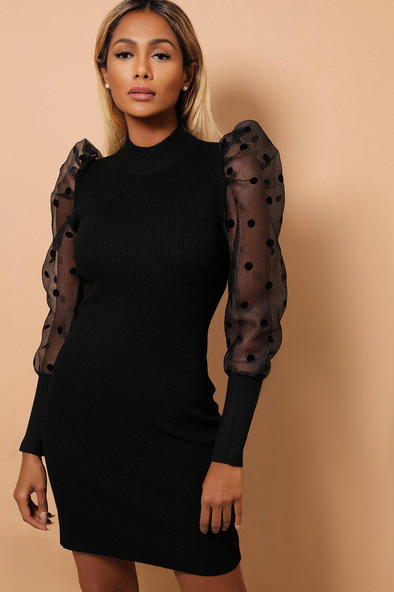 Black  Polka Dot Puff Sleeves Ribbed Knit Dress - SinglePrice