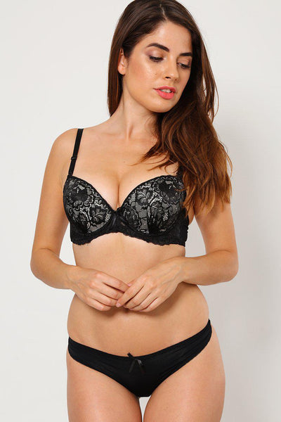 Black Lace Bra And Brief Set-SinglePrice