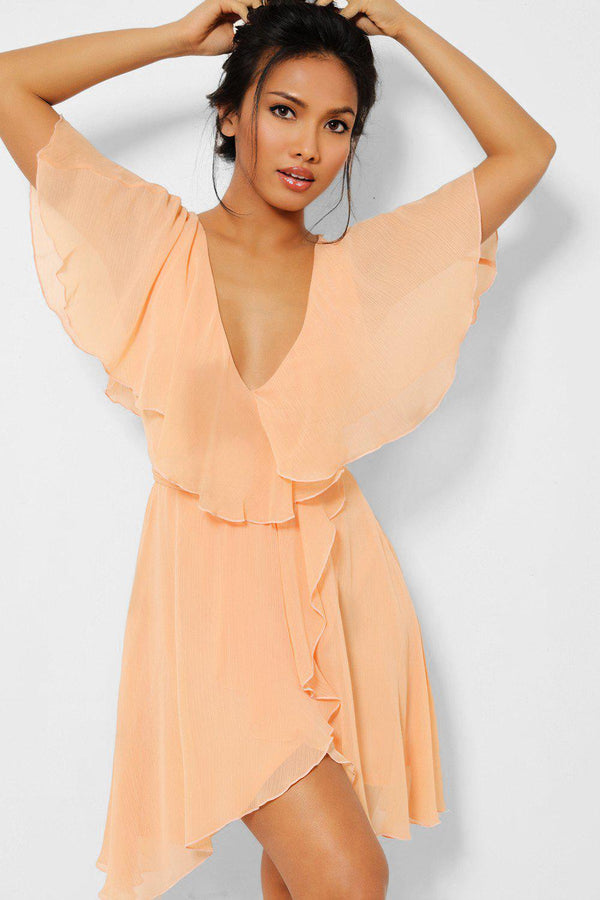 Peach V-Neck Waist Tie Layered Chiffon Dress - SinglePrice