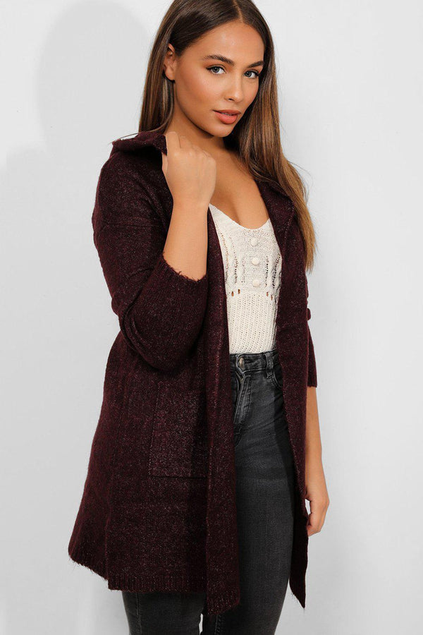 Purple Waterfall Super-Soft Knit Hooded Cardigan - SinglePrice
