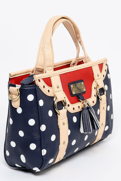 Navy Red Polka Dot Hand Bag-SinglePrice