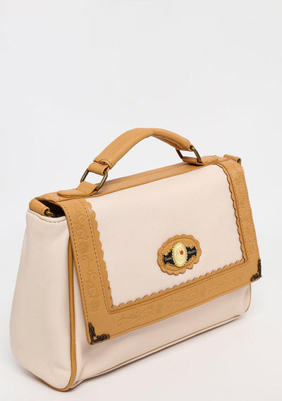 Beige and Tan Small Satchel-SinglePrice