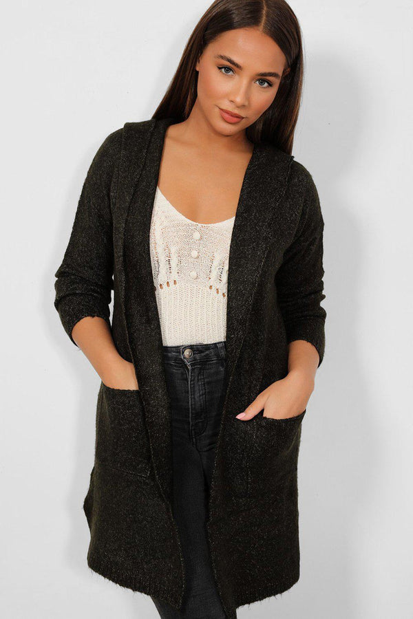 Khaki Waterfall Super-Soft Knit Hooded Cardigan - SinglePrice