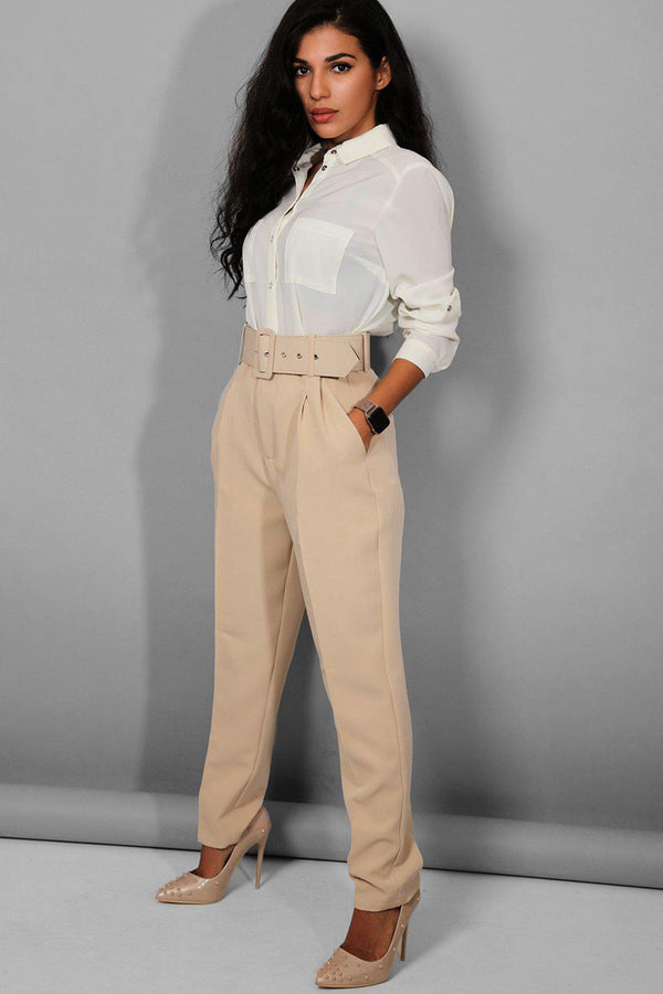 Beige Belted 90's Inspired Smart Trousers
