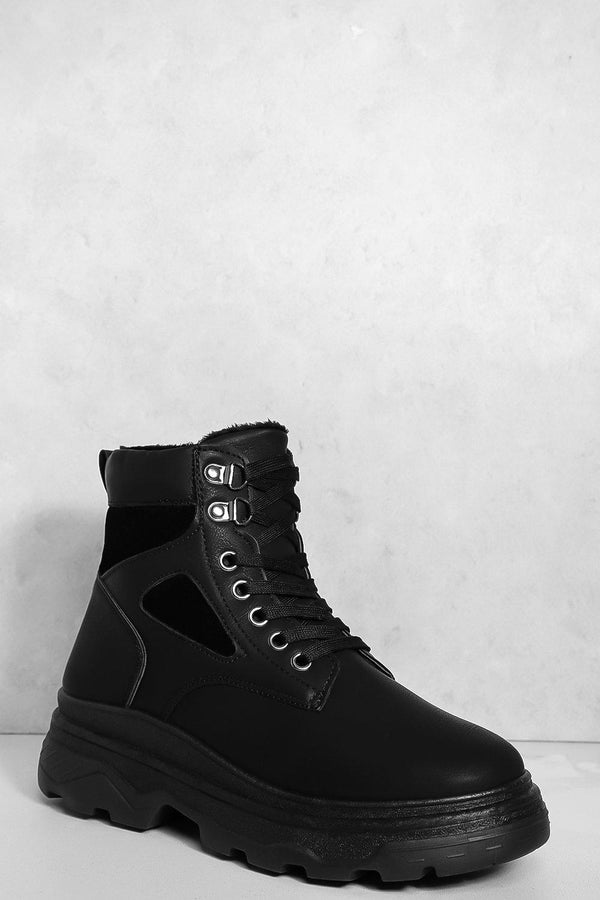 Black Vegan Leather And Suede Faux Fur Line Hi Top Wedge Trainers