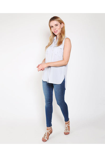 Blue Grey Sleeveless Chiffon Top-SinglePrice
