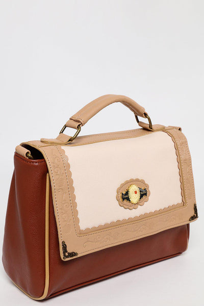 Brown and Pastel Pink Small Satchel-SinglePrice