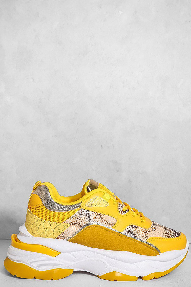 Yellow Snake Print Panels Chunky Trainers - SinglePrice