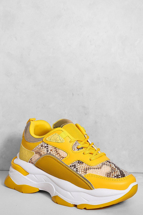Yellow Snake Print Panels Chunky Trainers