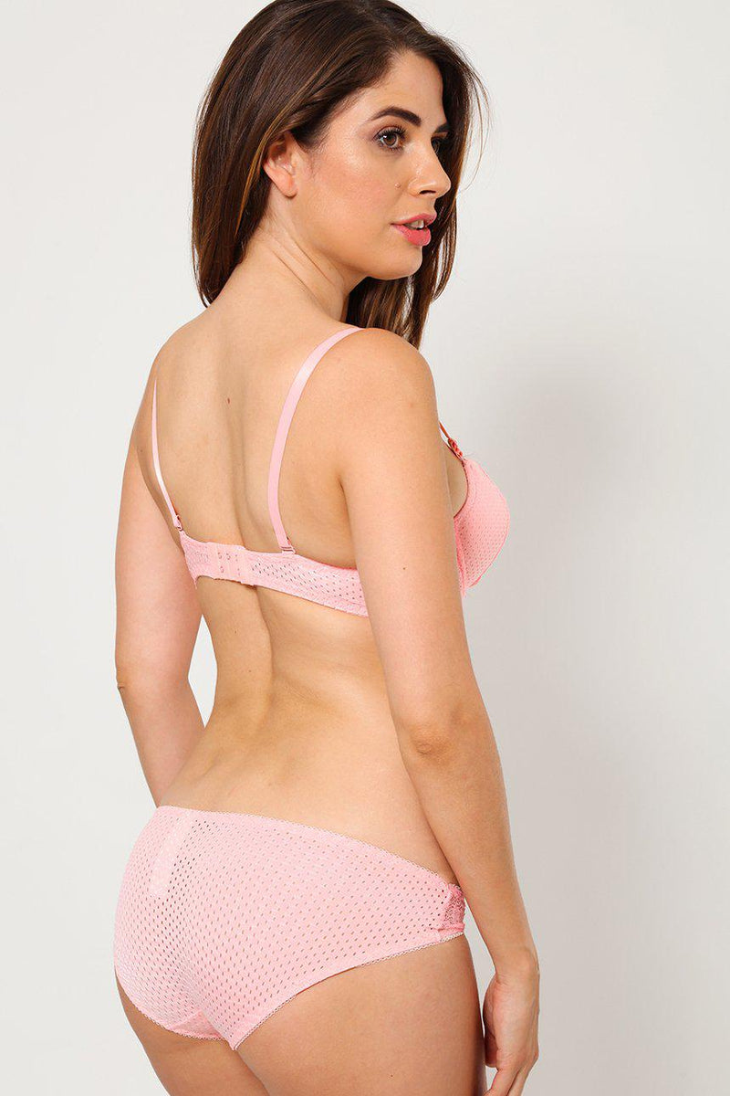 Lace Pink Bra And Brief Set-SinglePrice