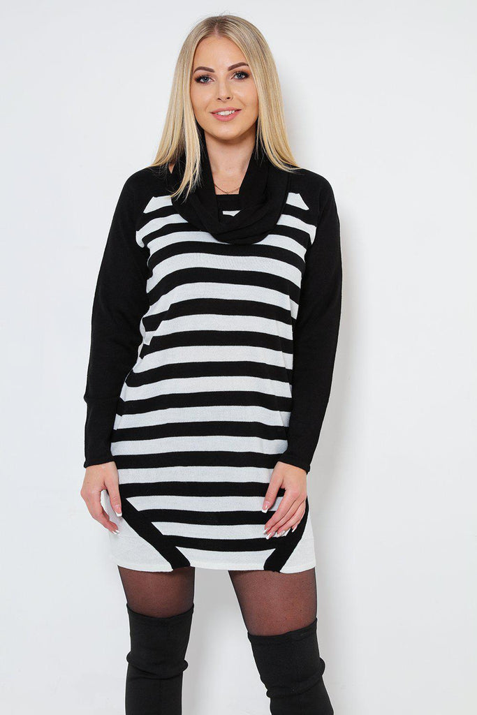 6703392a2c Black And White Stripy Knit Jumper Dress
