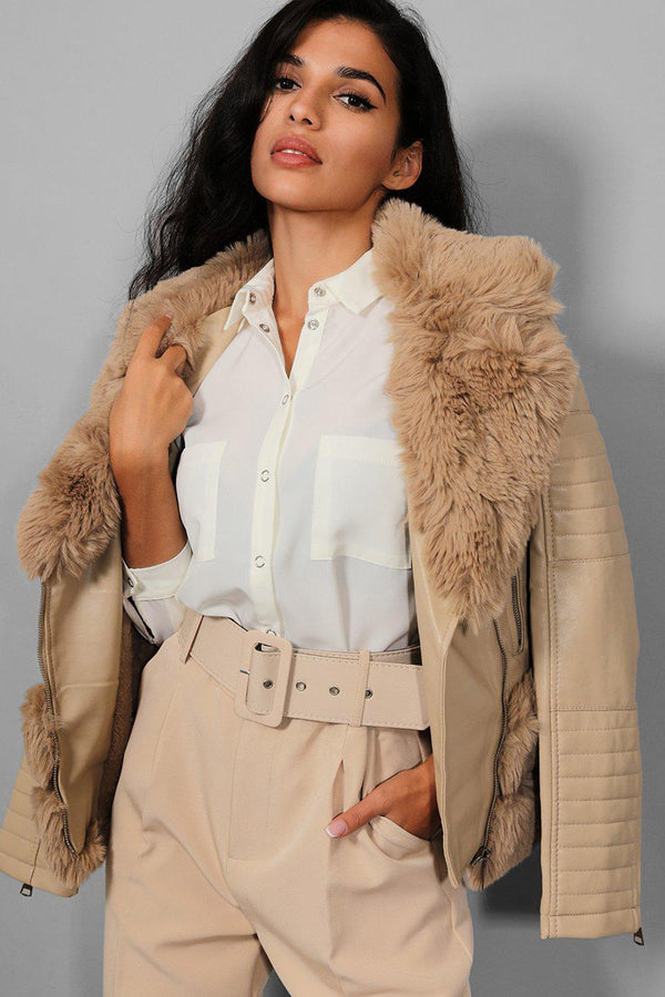 Apricot Faux Fur Trims Belt Waist Apricot Aviator Jacket - SinglePrice