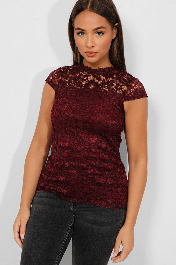 Burgundy Lace Illusion High Neck Top - SinglePrice