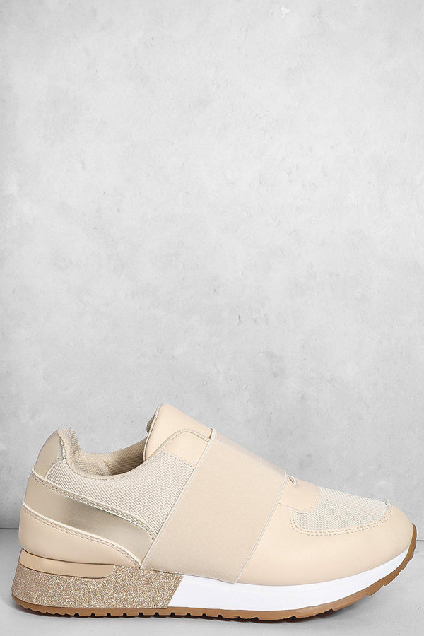 Beige Elastic Panel Glitter Wedge Trainers