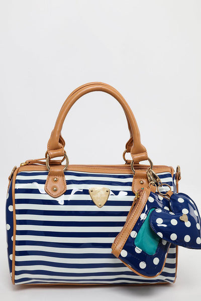 Navy Stripes and Spots Bowler Bag-SinglePrice