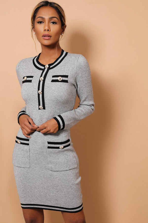 Grey Contrast Panels And Button Details Soft Knit Dress-SinglePrice