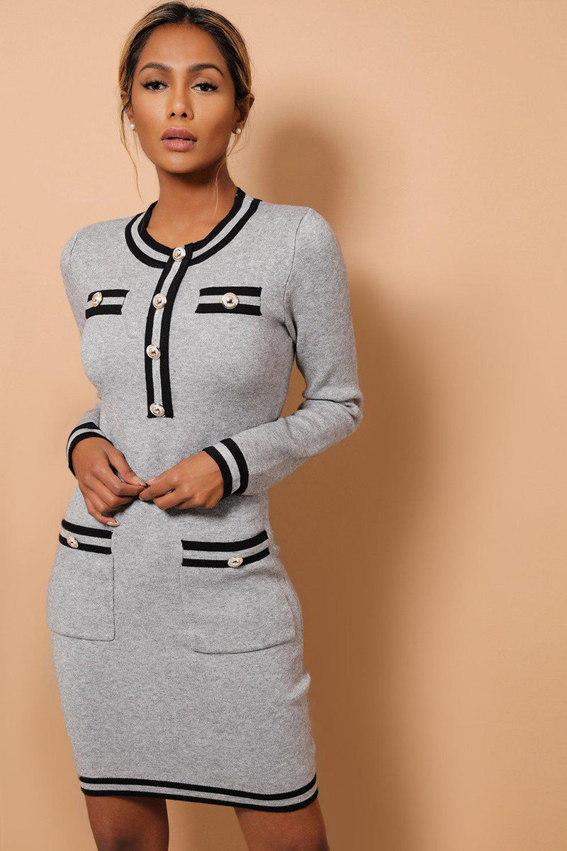 Grey Contrast Panels And Button Details Soft Knit Dress - SinglePrice
