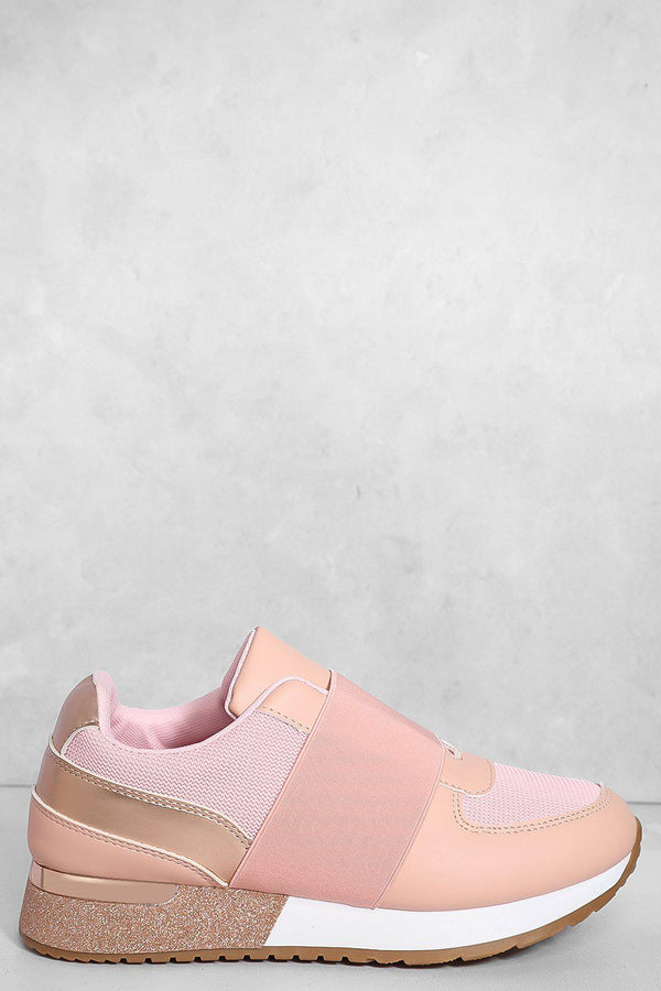 Pink Elastic Panel Glitter Wedge Trainers-SinglePrice