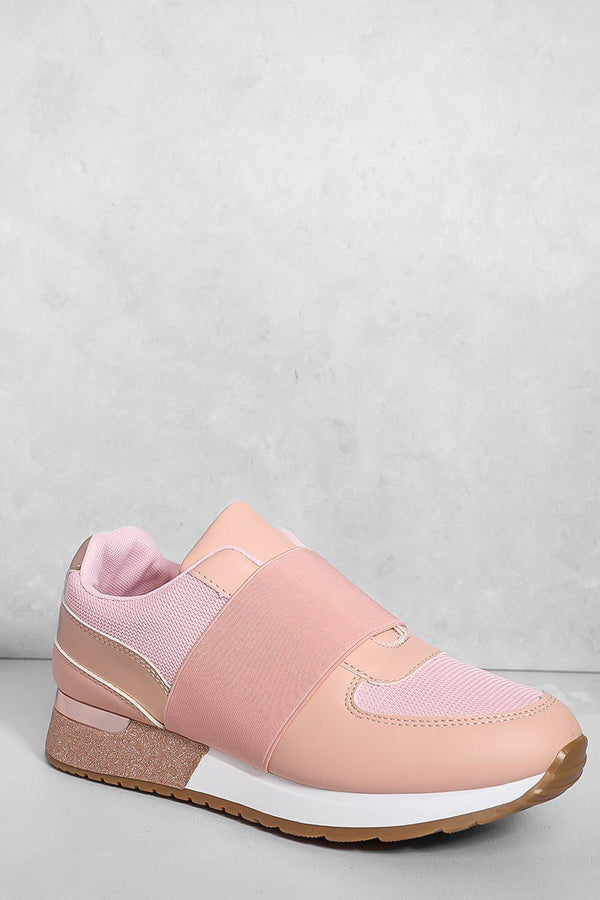 Pink Elastic Panel Glitter Wedge Trainers