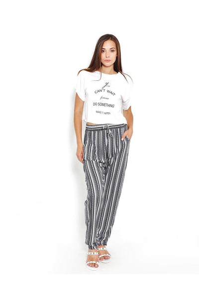 Mixed Vertical Stripes Blue Leisure Trousers-SinglePrice