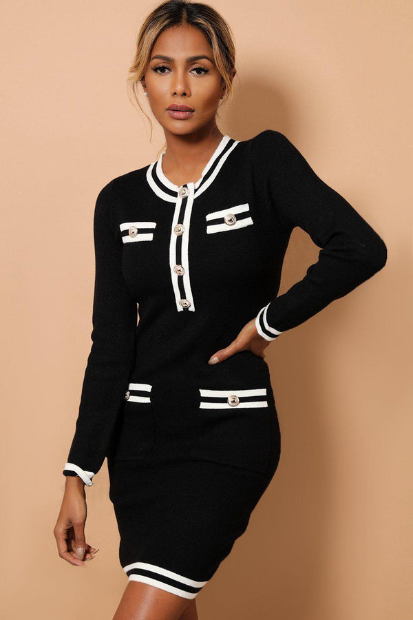 Black Contrast Panels And Button Details Soft Knit Dress-SinglePrice