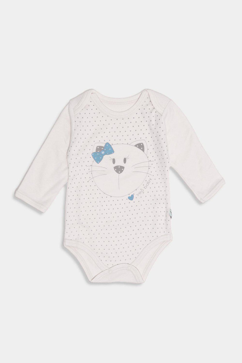Cream Polka Dot Kitty Cat Print Baby Body - SinglePrice