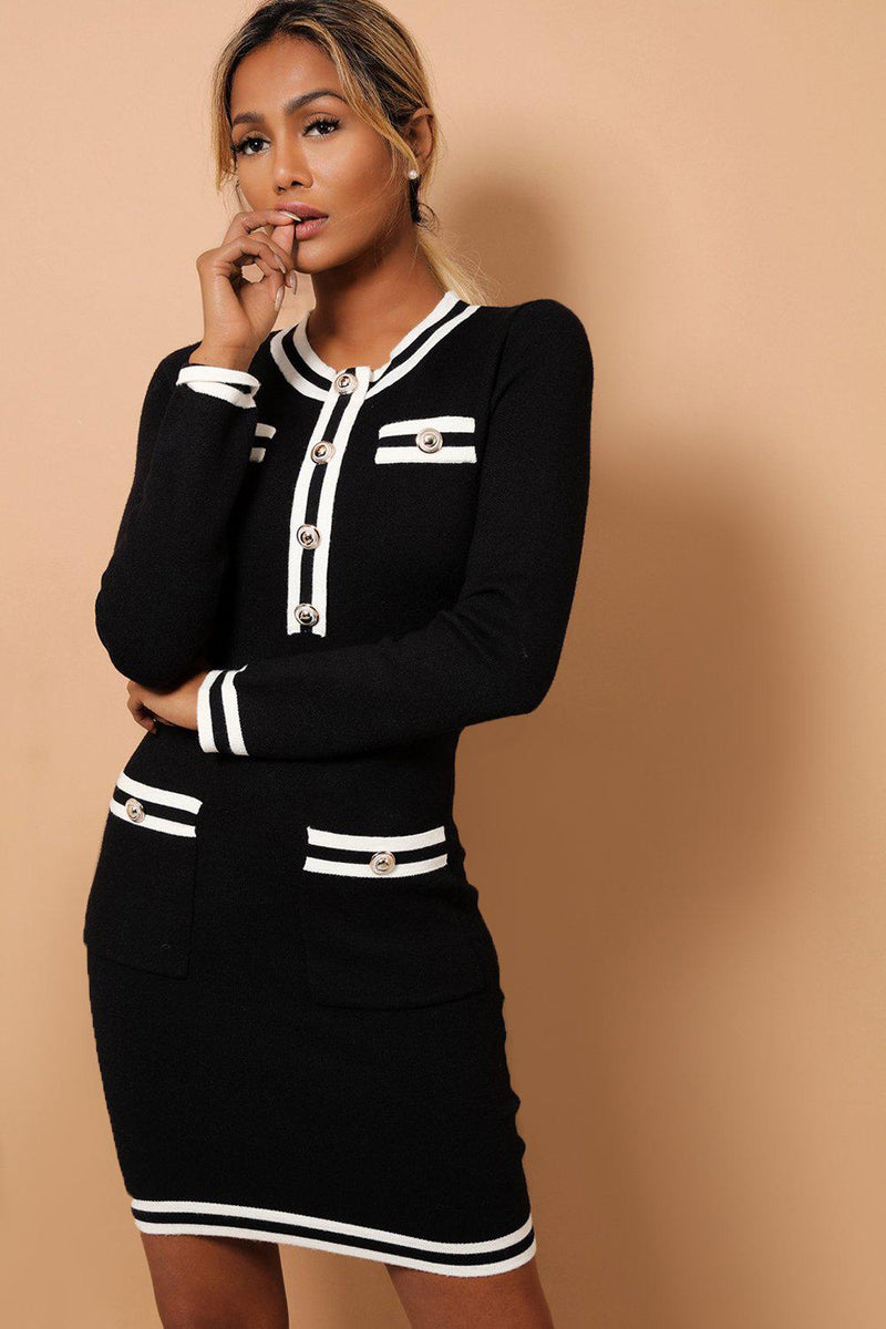 Black Contrast Panels And Button Details Soft Knit Dress - SinglePrice