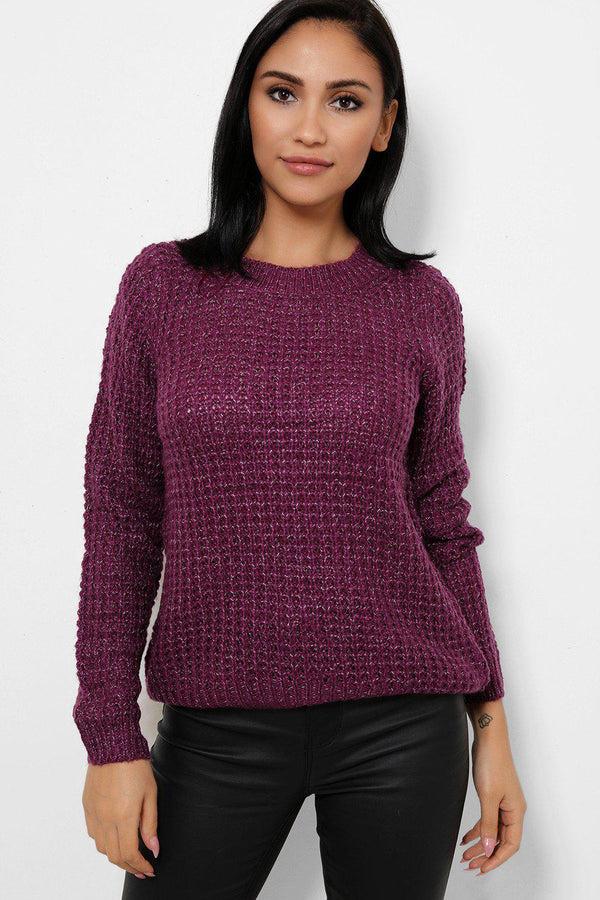 Purple Purl Knit Mixed Yarn Pullover - SinglePrice