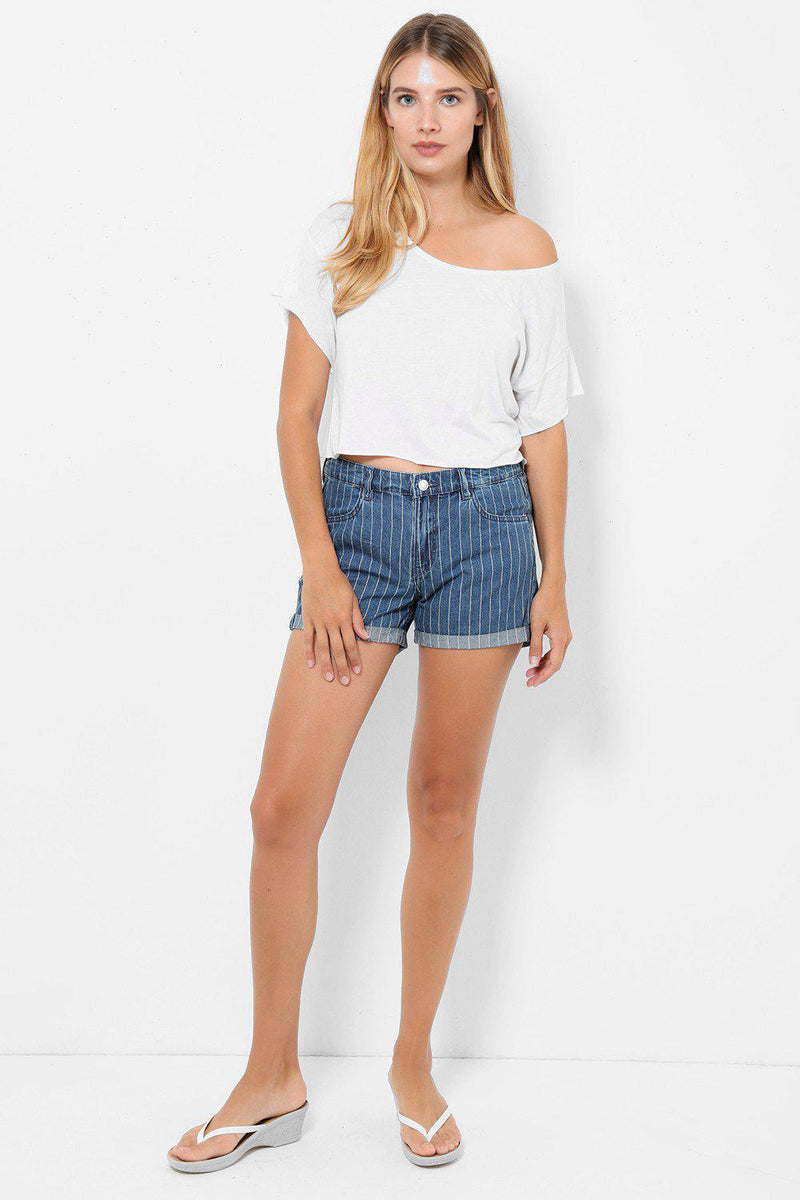 Stretchy Denim Blue Shorts In Stripes - SinglePrice