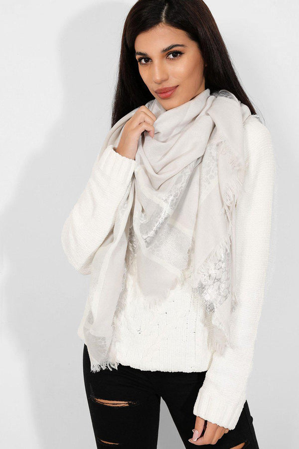 Light Grey Leopard Print Lurex Scarf - SinglePrice