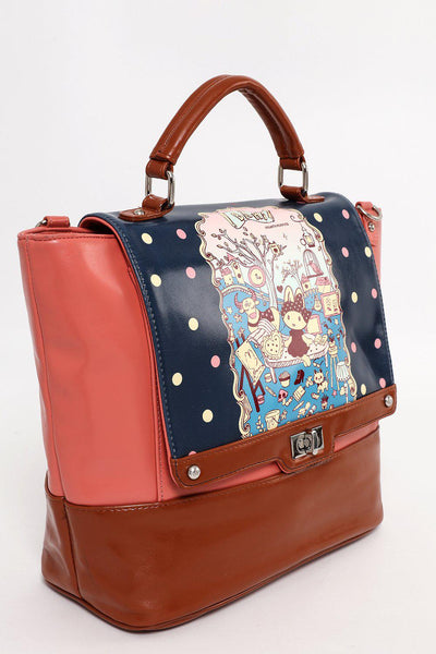 Pink Cartoon Scene Satchel-SinglePrice