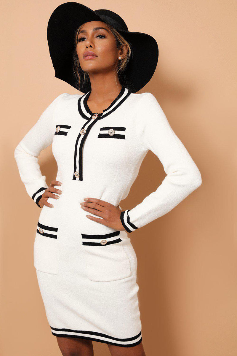 White Contrast Panels And Button Details Soft Knit Dress - SinglePrice