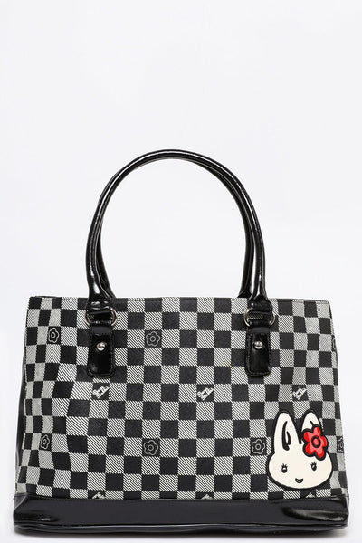 Checkered Pattern Black Tote-SinglePrice