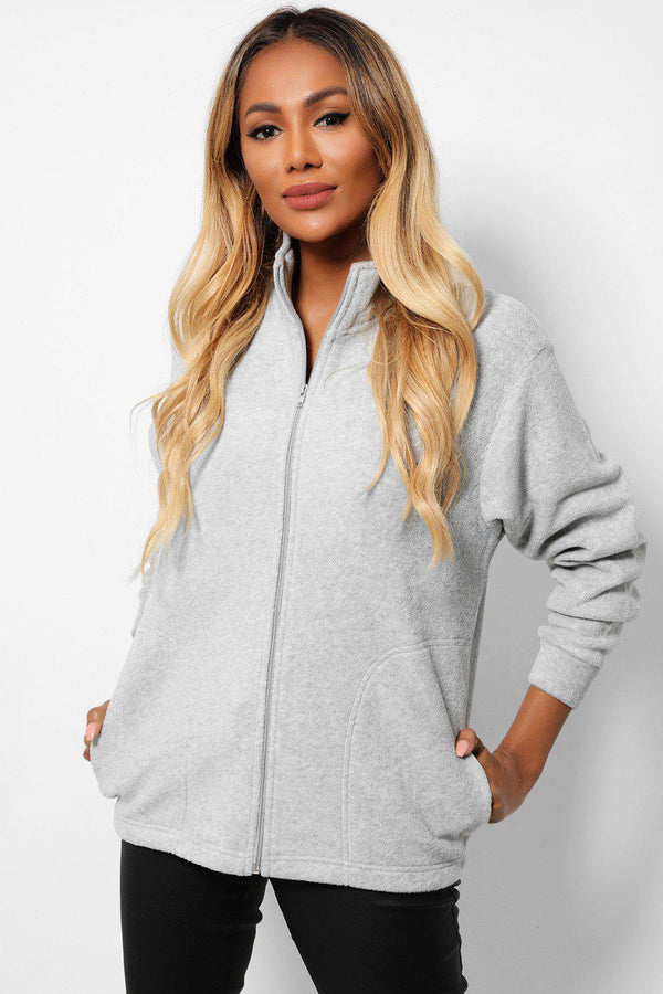 Light Grey High Neck Full Zip Fleece Jacket - SinglePrice