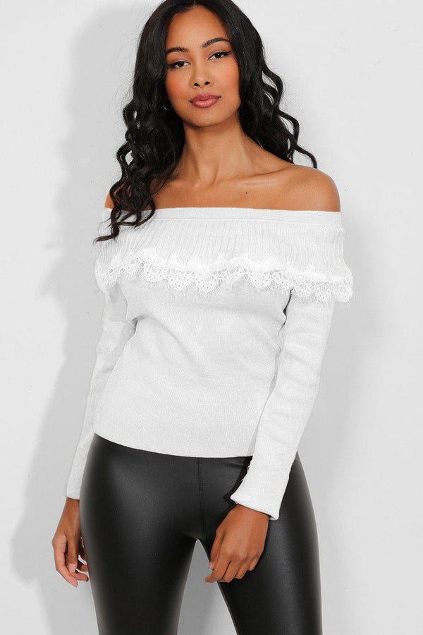 White Off Shoulder Lace Pullover-SinglePrice