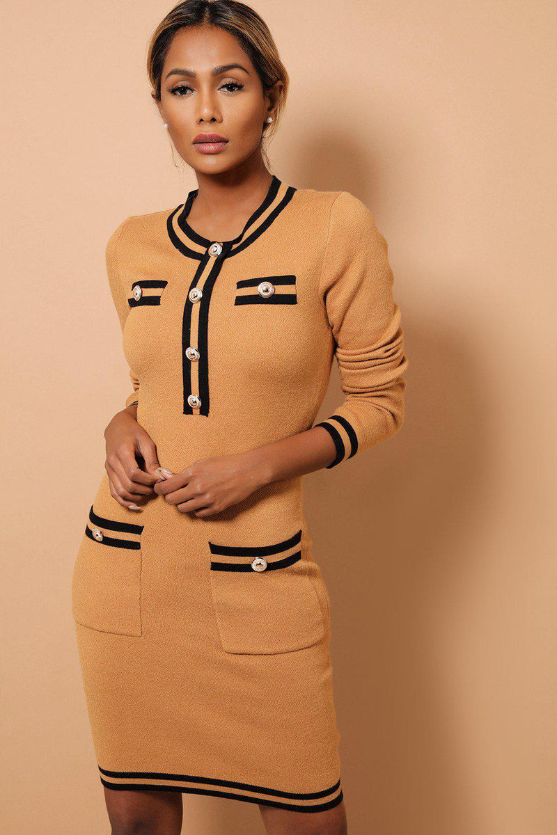 Camel Contrast Panels And Button Details Soft Knit Dress - SinglePrice