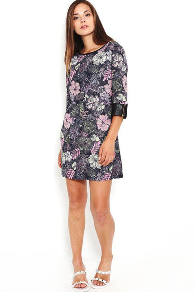 PU Detail Floral print Shift Dress-SinglePrice