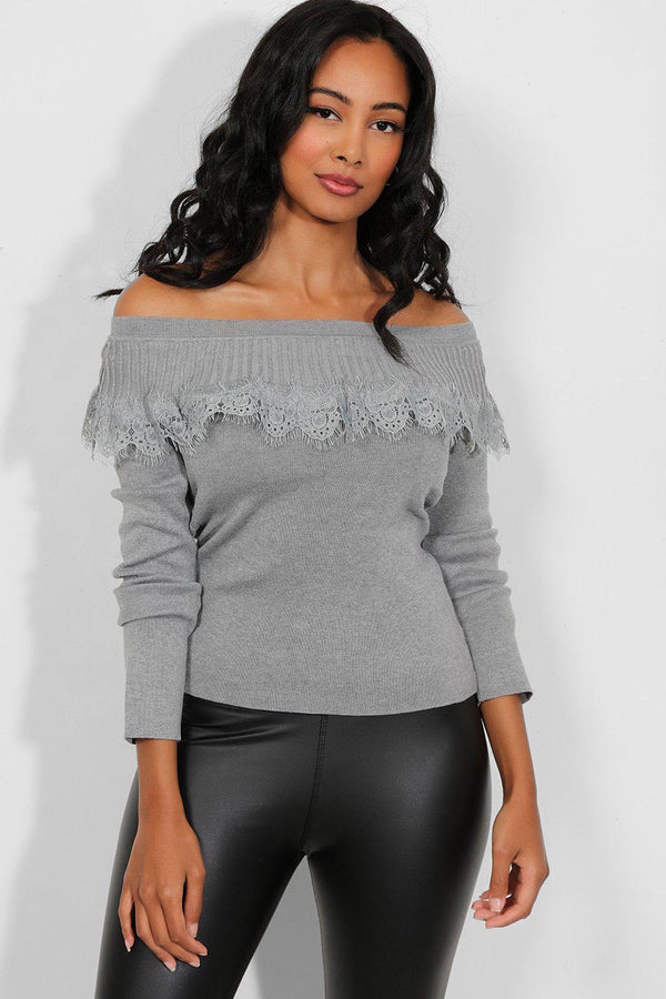 Grey Off Shoulder Lace Pullover-SinglePrice