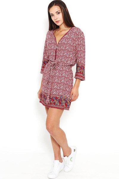 Red Paisley Print Zipper V-Neck Dress-SinglePrice