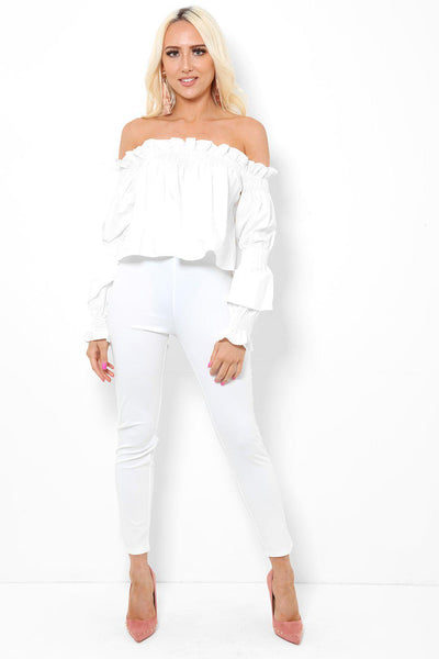 Off Shoulder White Top And Leggings 2 Piece Set-SinglePrice