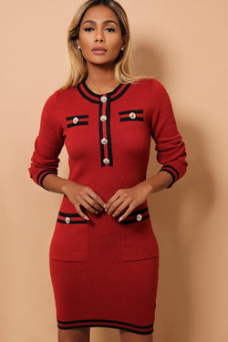 Burgundy Contrast Panels And Button Details Soft Knit Dress - SinglePrice