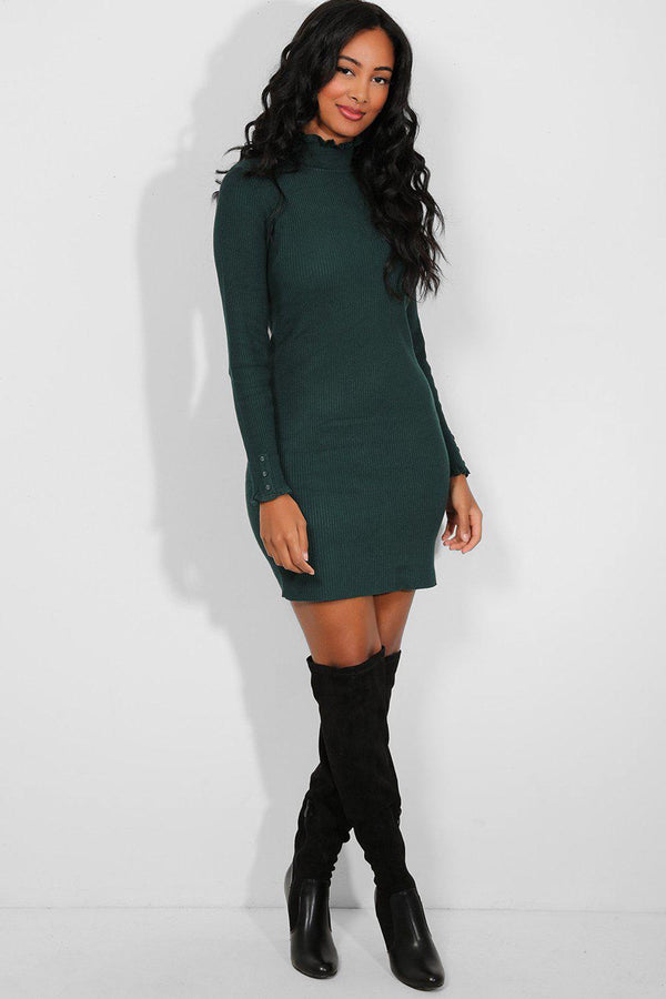 Bottle Green Frilled Trims Knitted Dress