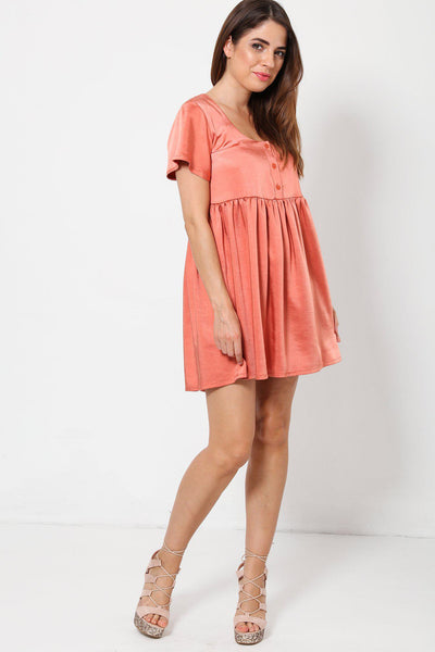 High Waisted Pink Blush Satin Babydoll Dress-SinglePrice