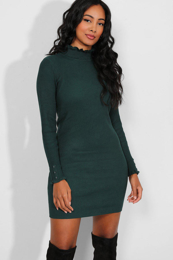 Bottle Green Frilled Trims Knitted Dress-SinglePrice