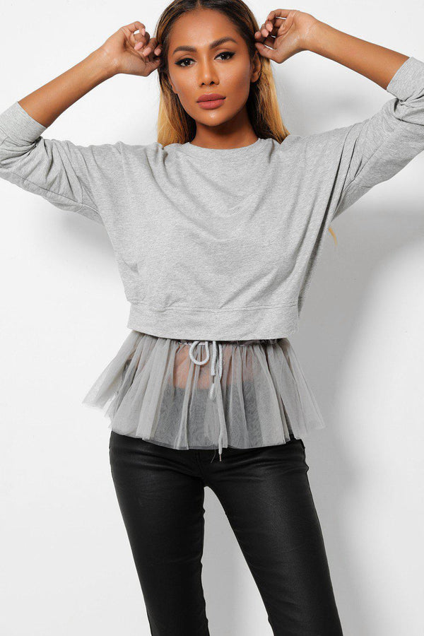 Grey Layered Net Hem Drawstring Sweatshirt - SinglePrice