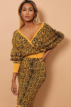 Mustard Cheetah Print Large V-Neck Knitted Midi Dress - SinglePrice