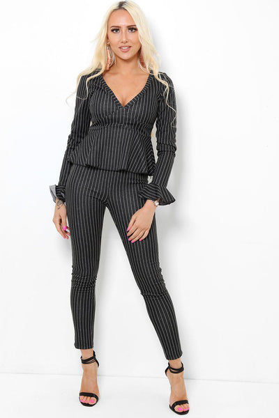 Black Stripy Peplum 2 Piece Set-SinglePrice